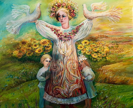 Mother Nature take care of kids. Women goddess art concept in warm colors. Oil or acrylic painting on canvas. Colorful illustration