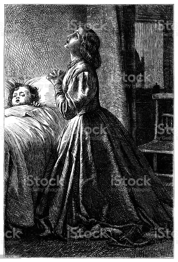 Mother praying at a child's bedside - Victorian illustration royalty-free mother praying at a childs bedside victorian illustration stock vector art & more images of 1880