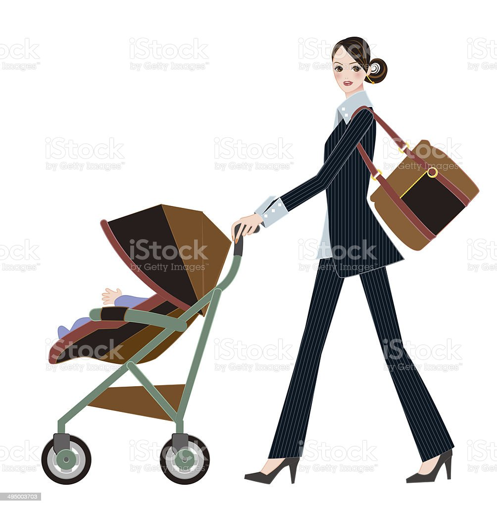 aae2f64526a Mother pushing baby carry. Mother to work. royalty-free mother pushing baby  carry