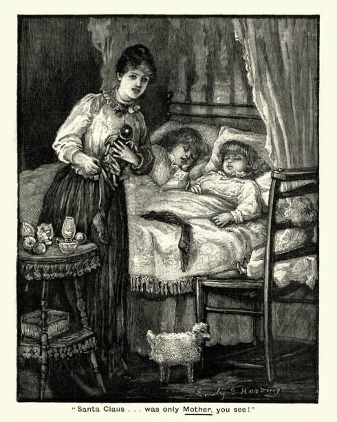 illustrazioni stock, clip art, cartoni animati e icone di tendenza di mother putting christmas gfts out for her children, victorian - santa claus tiptoeing
