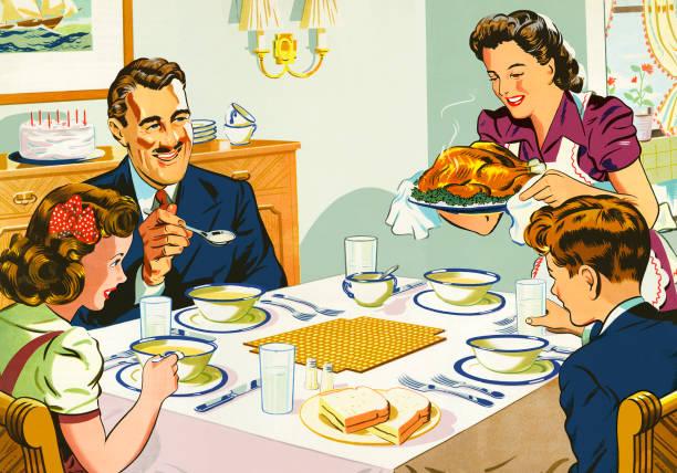 mother serving dinner to her family - family dinner stock illustrations