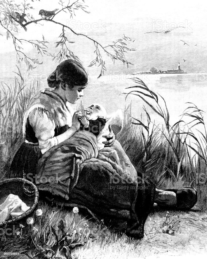 Mother sits by the lake, her baby on her lap, trying to get him to sleep - Royalty-free 1890-1899 stock illustration