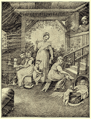 """Mother surrounded by her playing children ,Illustration to Schiller's """"bell"""""""
