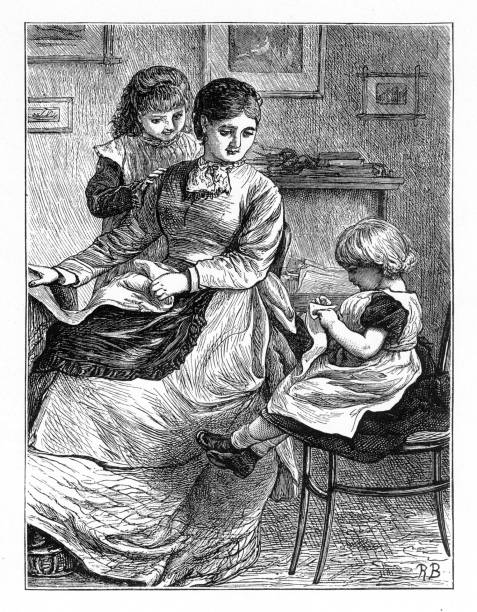Mother teaching her young daughters how to sew, American Victorian Engraving, 1882 Very Rare, Beautifully Illustrated Antique Engraving of a Mother teaching her young daughters how to sew, American Victorian Engraving, 1882. Source: Original edition from my own archives. Copyright has expired on this artwork. Digitally restored. 1880 stock illustrations