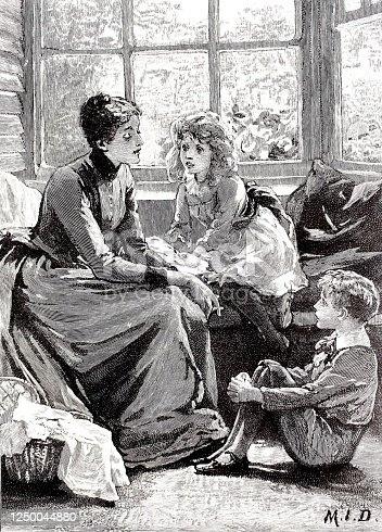 istock Mother tells a story to her two children, on the sofa, by the window 1250044880