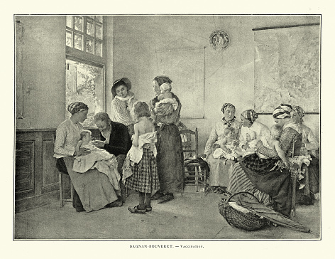 Mother waiting to have their children vaccinated, Doctor injecting a vaccine, Victorian 19th Century