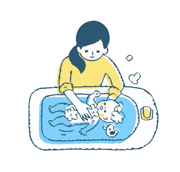 bildbanksillustrationer, clip art samt tecknat material och ikoner med mamma tvätta baby i babybadkar - baby bathtub