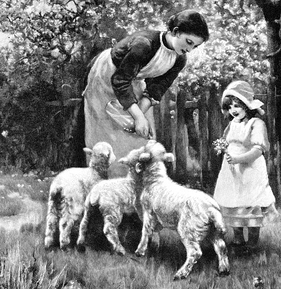 Mother with daughter feeding little lambs on farm 1897