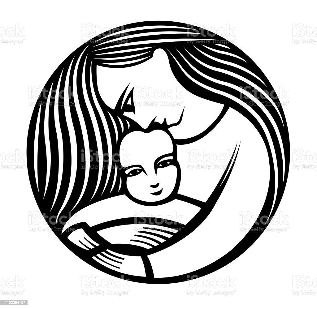 moeder met lang haar dat een kind houdt - Royalty-free Adoptie Stockillustraties