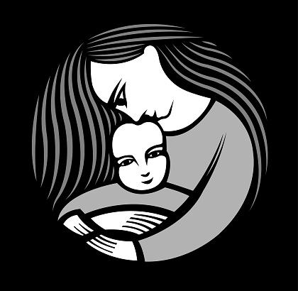 Moeder Met Lang Haar Dat Een Kind Houdt Stockvectorkunst en meer beelden van Adoptie