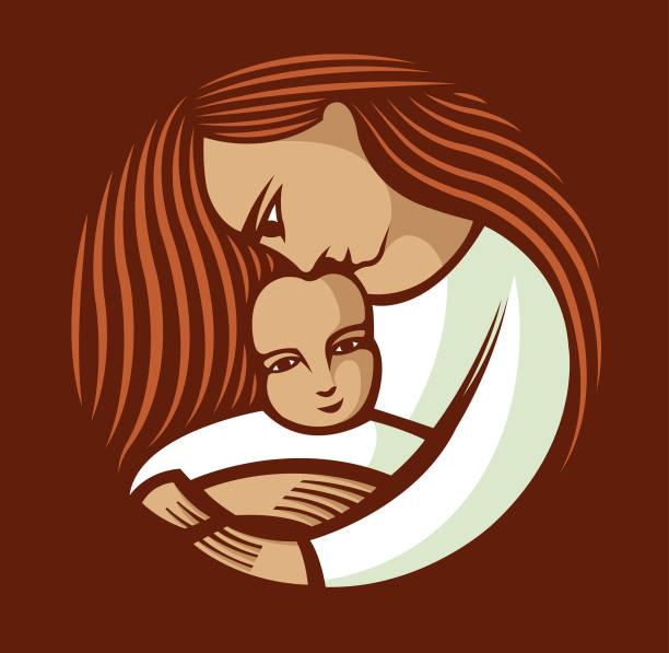 stockillustraties, clipart, cartoons en iconen met moeder met lang haar dat een kind houdt - festival logo baby