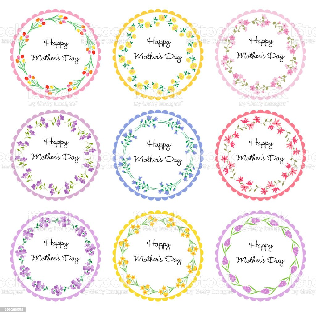 Mothers Day Circle Frames Stock Vector Art & More Images of Bluebell ...