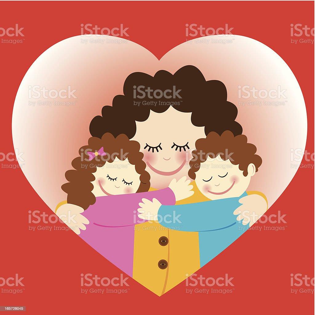 mothers day:  mom hugging her children vector art illustration