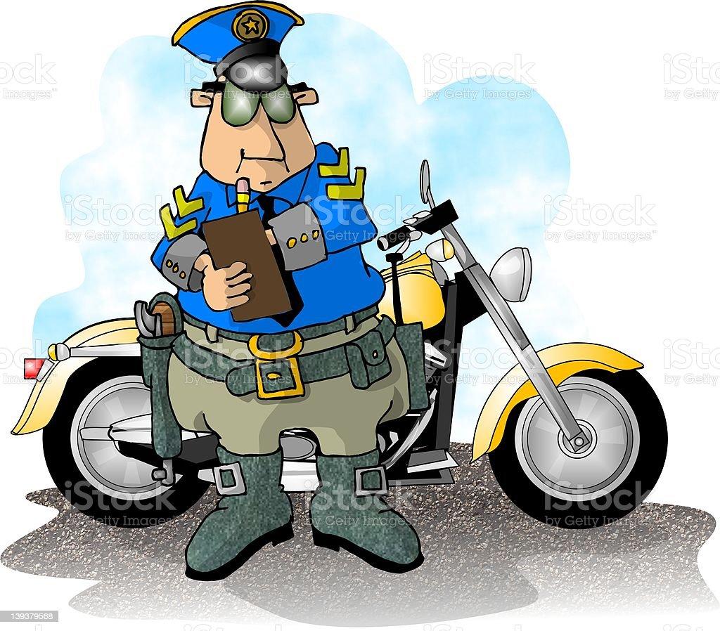 Motorcycle Cop royalty-free stock vector art