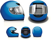 """Side, front, and back view of a motorcycle helmet."""