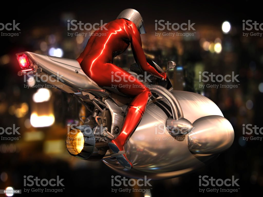 Motocicleta no futuro - ilustração de arte em vetor
