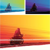 Man riding a motorbike on three different coloured backgrounds.