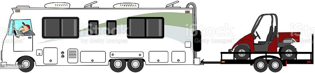 Motorhome towing a UTV vector art illustration