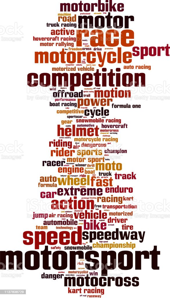 Motorsport word cloud concept. Collage made of words about...
