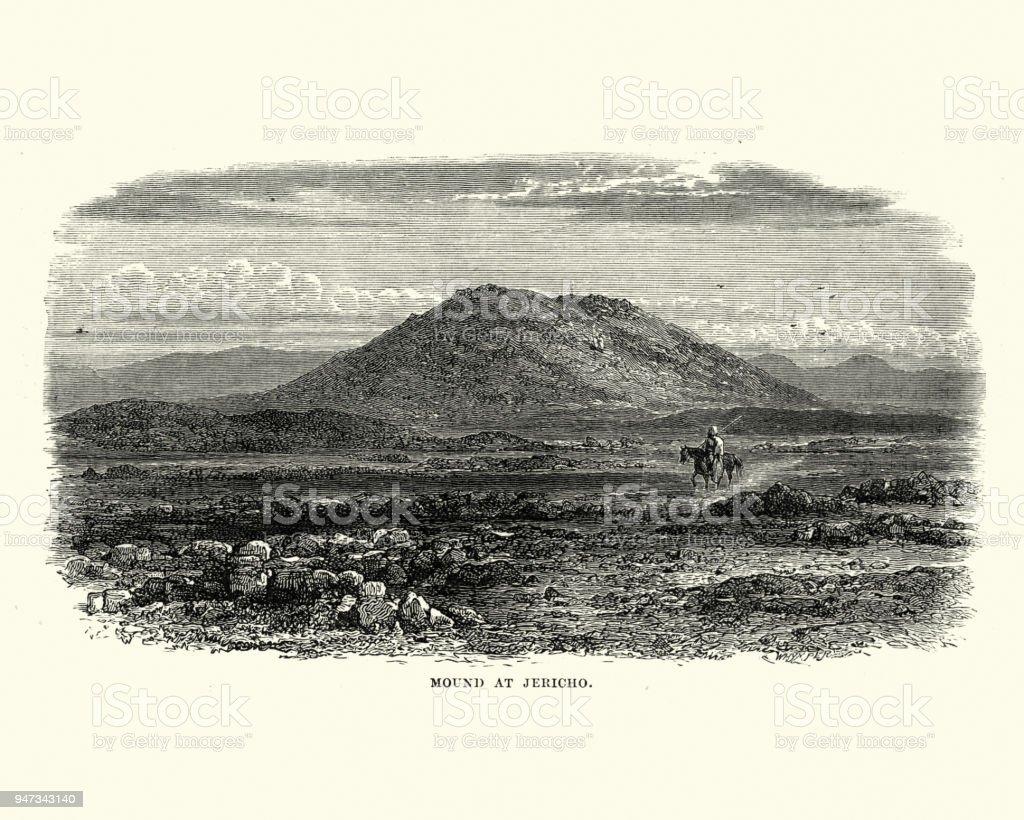 Mound at Jericho, 19th Century vector art illustration