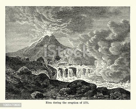 Vintage engraving of Mount Etna during the eruption of 1771. an active stratovolcano on the east coast of Sicily, Italy