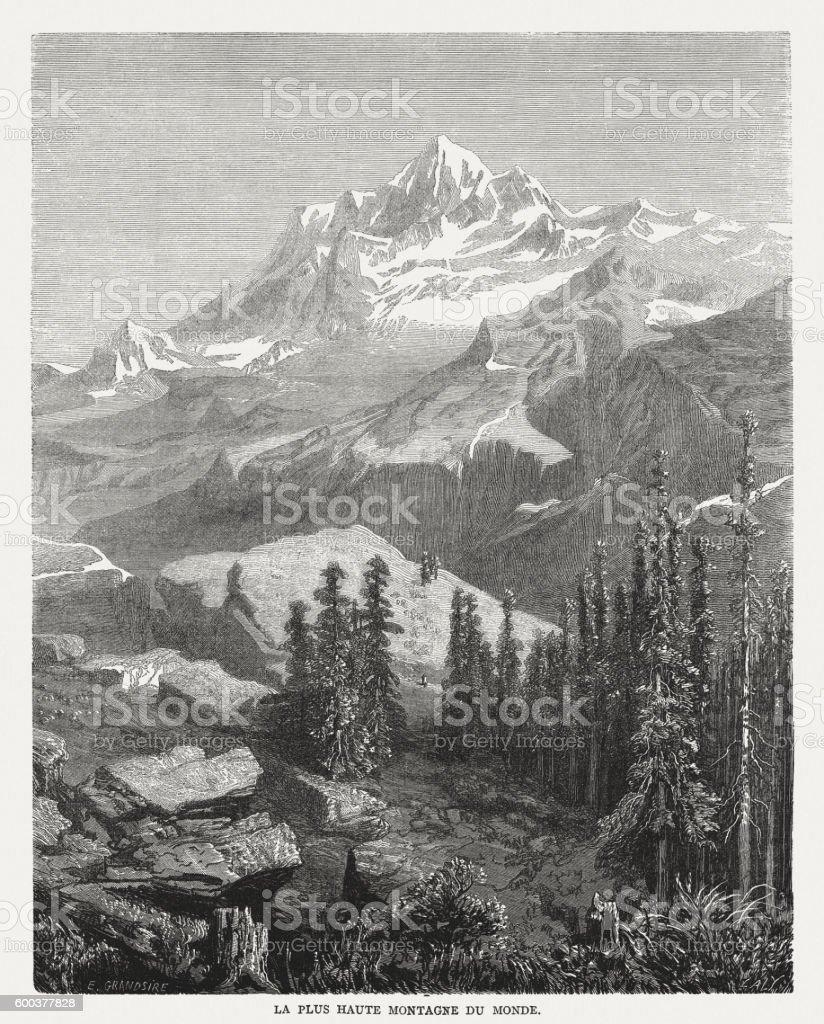 Mount Everest, wood engraving, published in 1877 vector art illustration