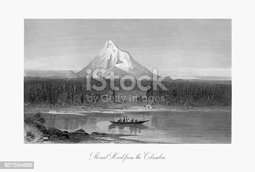 Very Rare, Beautifully Illustrated Antique Engraving of Mount Hood from the Columbia River, Oregon, United States, American Victorian Engraving, 1872. Source: Original edition from my own archives. Copyright has expired on this artwork. Digitally restored.