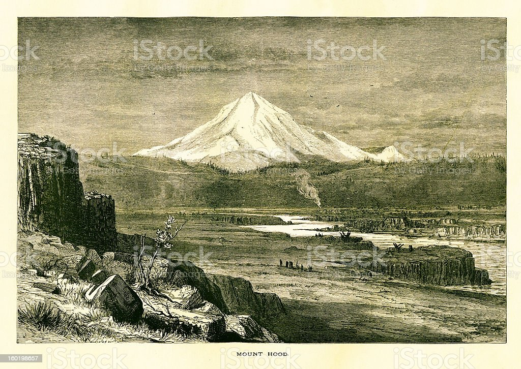 Mount Hood, Oregon royalty-free mount hood oregon stock vector art & more images of 19th century