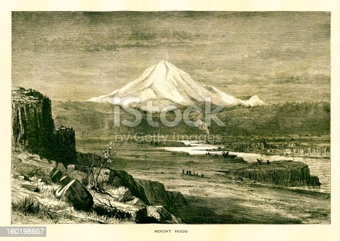 Mount Hood , a volcano whose peak of 3426 m is the highest point in Oregon, USA and the fourth-highest in the Cascade Range. Published in Picturesque America or the Land We Live In (D. Appleton & Co., New York, 1872).