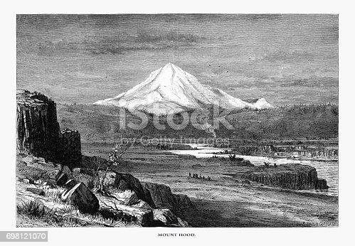 Very Rare, Beautifully Illustrated Antique Engraving of Mount Hood, Oregon, United States, American Victorian Engraving, 1872. Source: Original edition from my own archives. Copyright has expired on this artwork. Digitally restored.