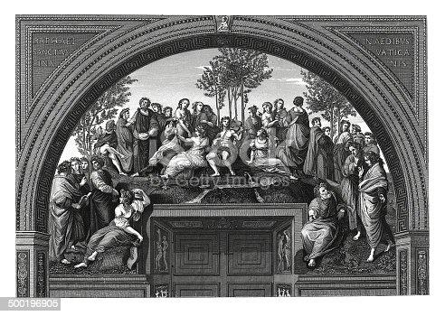istock Mount Parnassus (antique engraving after Raphael's fresco) 500196905