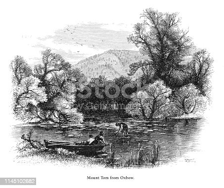 Very Rare, Beautifully Illustrated Antique Engraving of Mount Tom from the Oxbow, Connecticut River, Valley of the Connecticut, Massachusetts, United States, American Victorian Engraving, 1872.