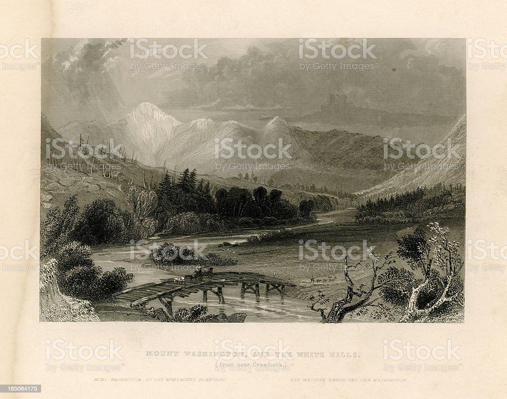 Mount Washington and the White Hills (Geo Virtue 1839) vector art illustration