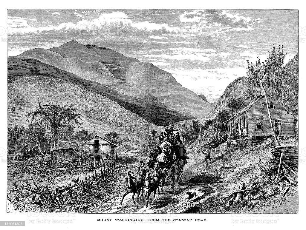 Mount Washington in the White Mountains, New Hampshire vector art illustration