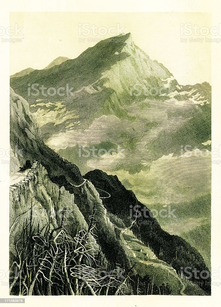 Mount Washington Road in the White Mountains, New Hampshire, ste vector art illustration