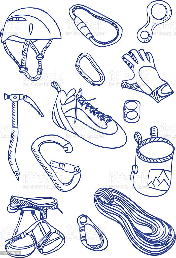 Alpinismo-estilo Garabato; Medio - ilustración de arte vectorial