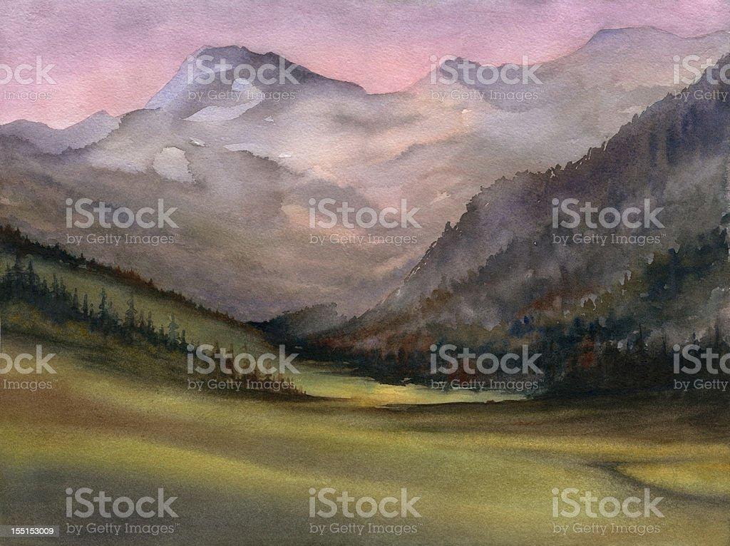 Mountain Greenery vector art illustration