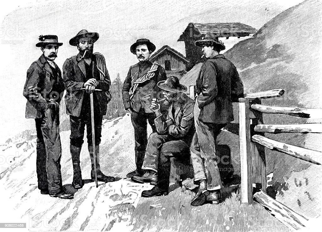 Mountain guides from Zermatt, Switzerland vector art illustration