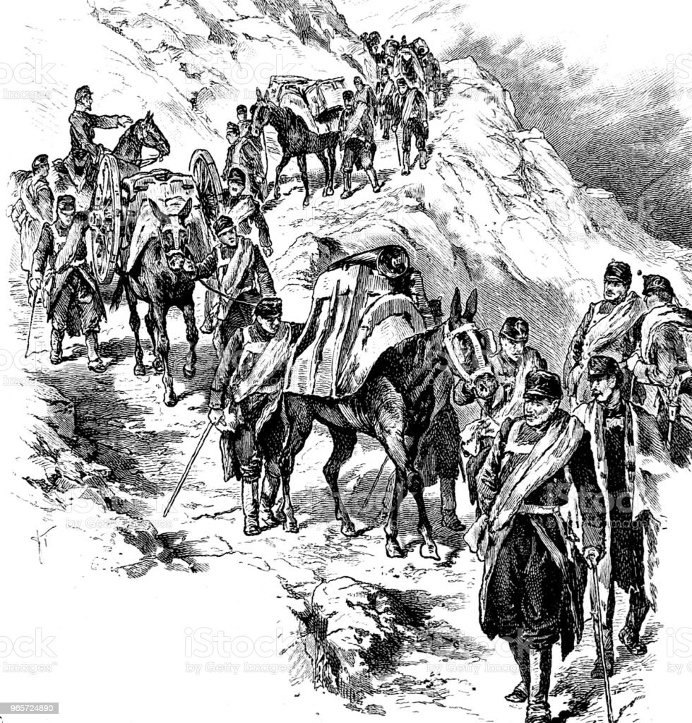 Mountain infantry - Royalty-free 1890-1899 stock illustration