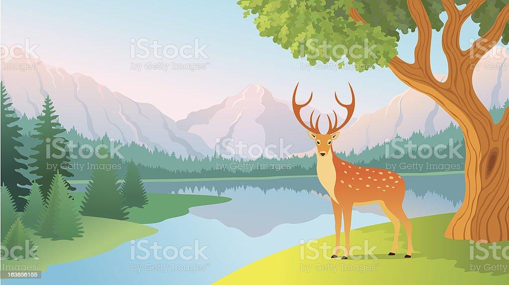 Mountain lake royalty-free stock vector art