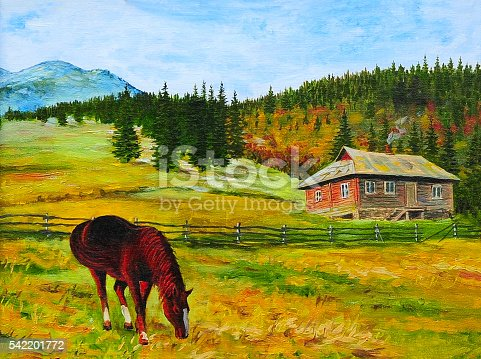 mountain landscape, horse near the house in the mountains, oil