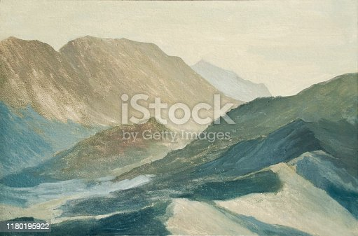 mountain landscape, the mountains at dawn, oil painting