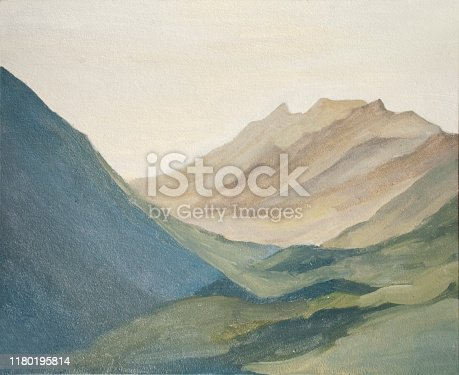 mountain landscape, the mountains at dawn, oil painting etude