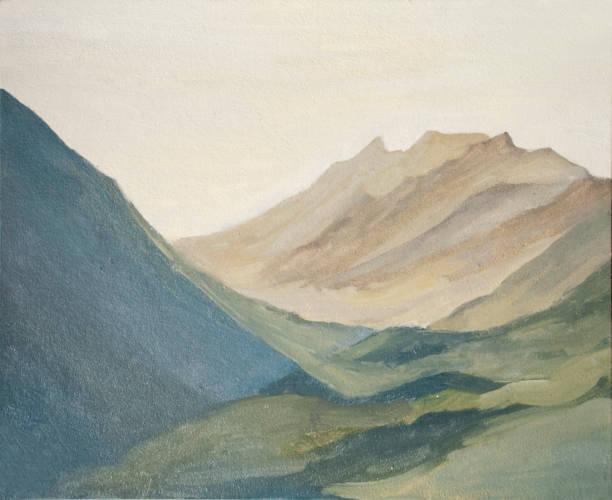 illustrazioni stock, clip art, cartoni animati e icone di tendenza di mountain landscape, mountains at dawn, oil painting - quadro