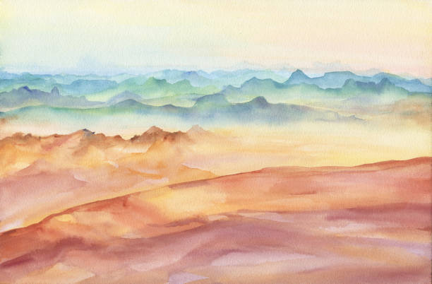 Mountain landscape peaks on sunset on panoramic view. Beautiful rocks and yellow sand desert, dune of the huge sizes. Watercolor hand drawn painting illustration isolated on white background. vector art illustration