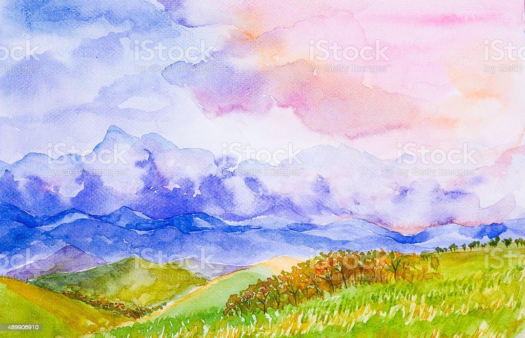 Paesaggio Di Montagna Con Un Cielo Colorato Acquerello