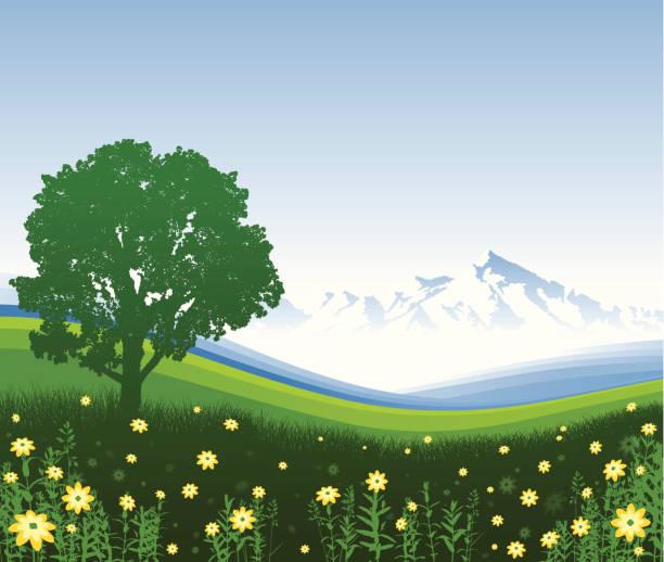 stockillustraties, clipart, cartoons en iconen met mountain meadow - fresh start yellow