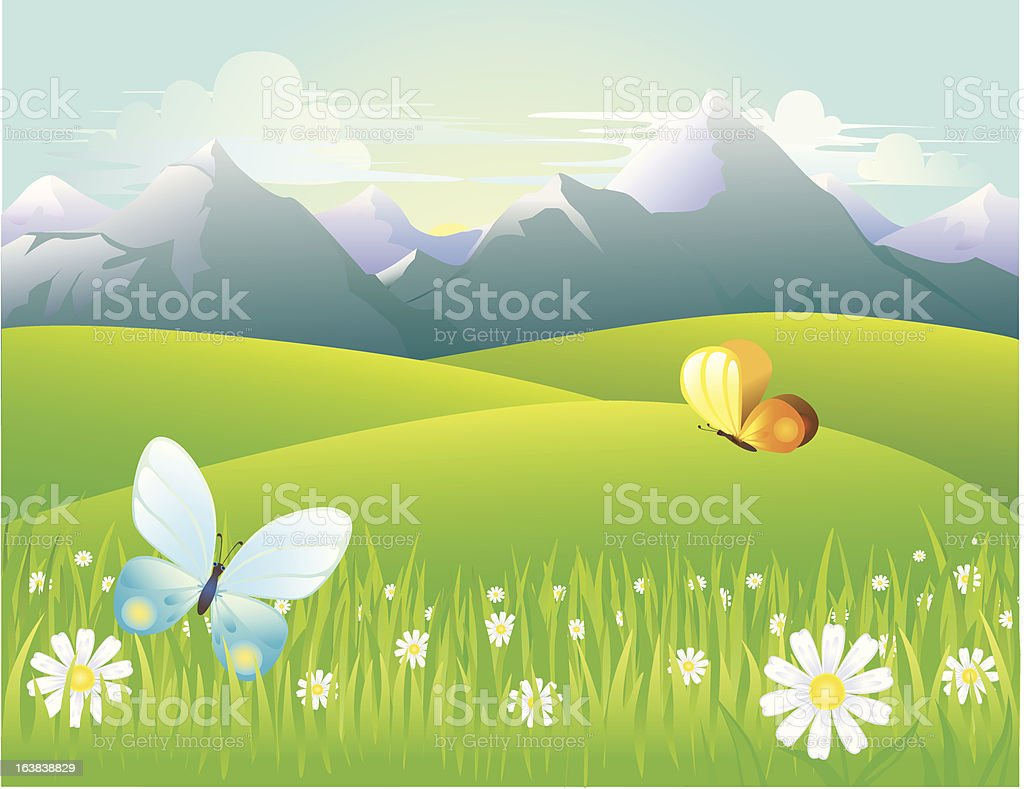 mountain meadows at dawn royalty-free stock vector art