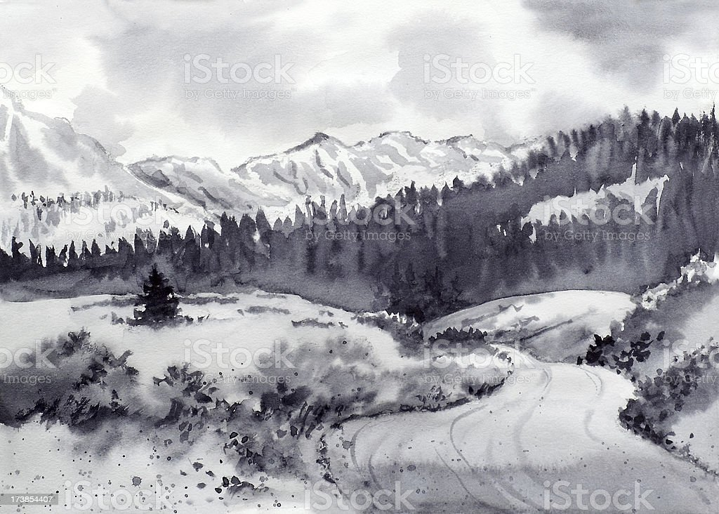 Mountain View and Country Road vector art illustration