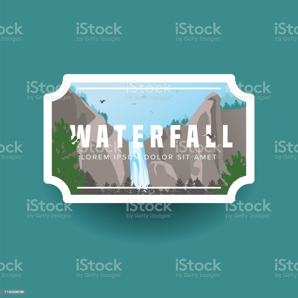 Mountain waterfall and green forest landscape. Waterfall cascade in...